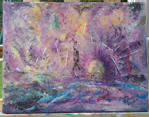 Abstrait ton violet rose jaune » Avatars » peinture Acrylique sur toile. Patricia-Vivier-Robert Patricia Vivier Robert » Pat V »