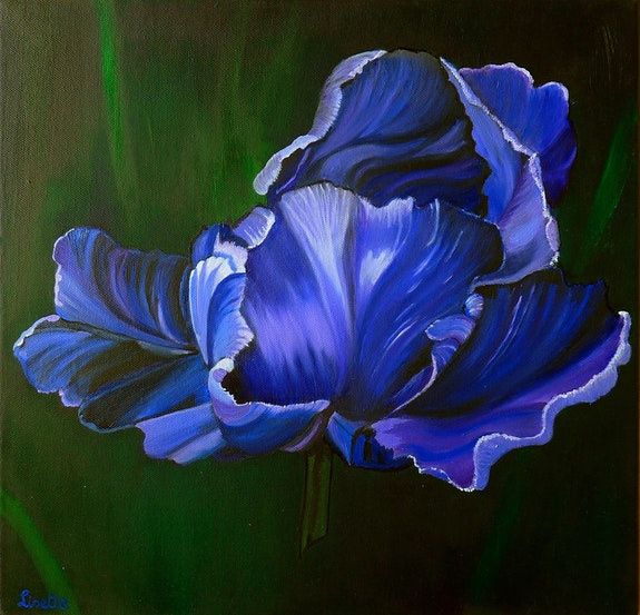 La tulipe bleu sur un fond vert. Lisette Swinnen Lisette