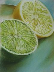 «Les citrons» Pastel sec. Annie Roudet