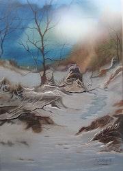 Un petit chemin paisible en pleine foret enneigée.
