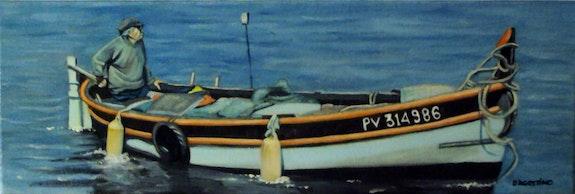 Pecheur à Collioure Huile sur toile. D'agostino Christian Christian D'agostino