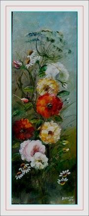 Branchages de roses colorées, marguerites et ombellifère.