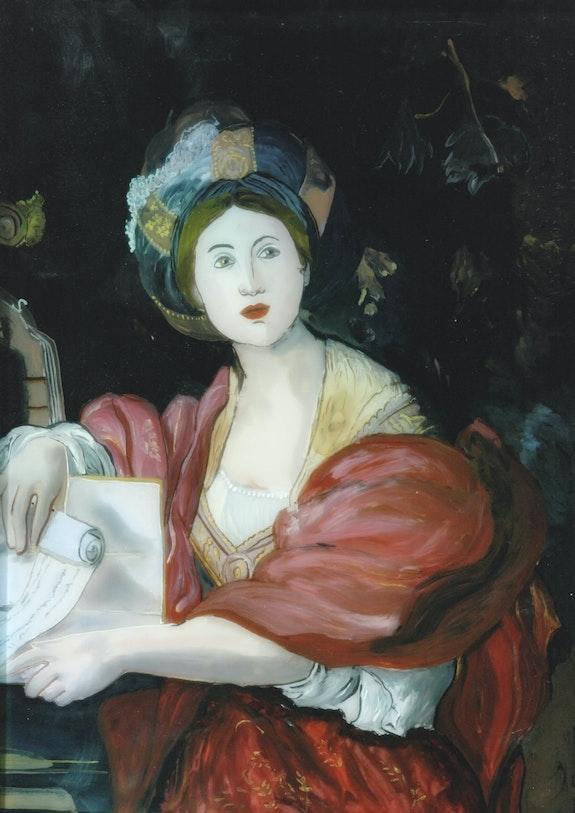 Sybille de Le Dominiquin - Peinture sous verre. Annie Saltel Annie Saltel