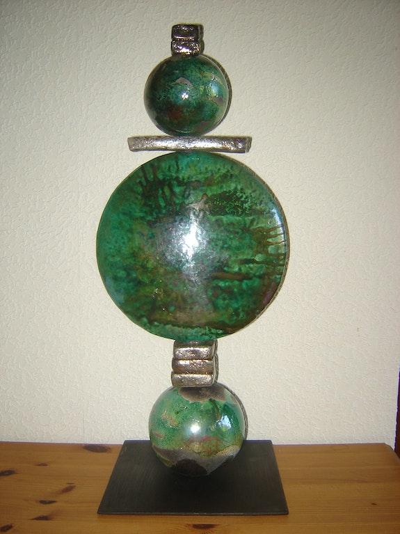 Sculpture Totem Vert cuivré.  Émilia