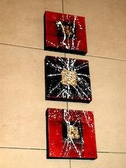 Triptyque moderne 3 d Projection Rouge et noir feuilles d'or.