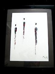 Cadre noir moderne abstrait Africaines gris noir et rouge. Travail au couteau..