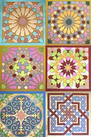 Leather marquetry arab alhambra tile.