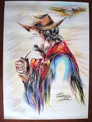Gaucho argentino, dibujo al pastel, año 2006. Javier Millán