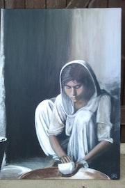 Jeune indienne au sari blanc.