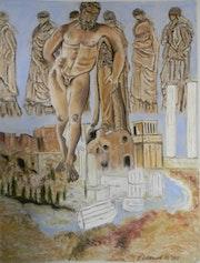 Héraclès et les Ergastines contemplant les ruines de la civilisation Grecque. Françoise-Elisabeth Lallemand