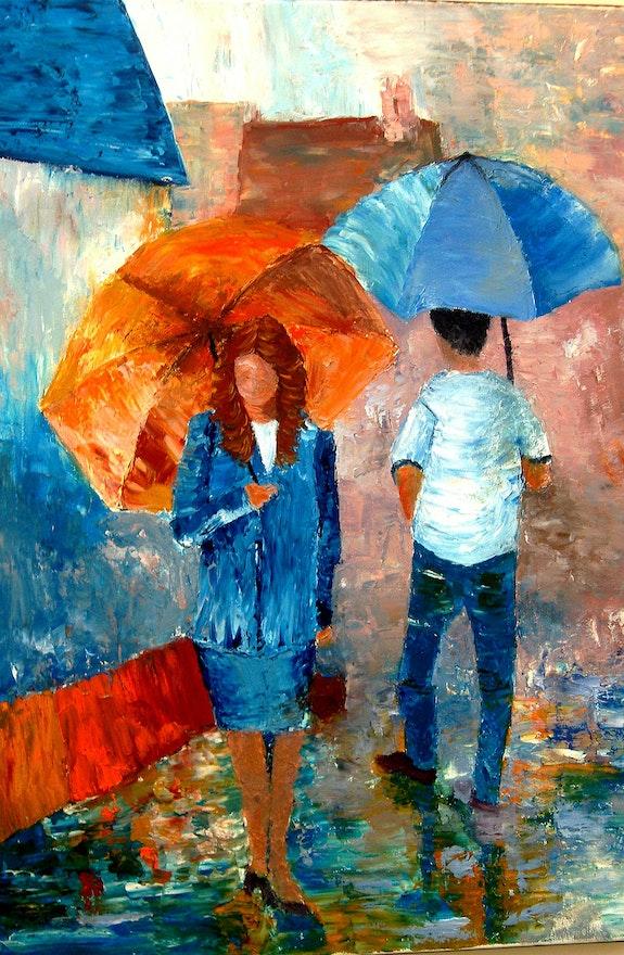 Sous la pluie 2. Tml-Peintre Michele Thomas Tml-Peintre