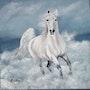 Cheval blanc au bord de la mer. Marie Colin
