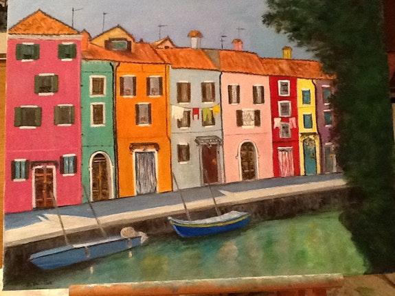 Burano avec son canal bordé de maisons colorées. Saluera Salsera