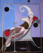 «Pose» café - peinture sous verre. Annie Saltel