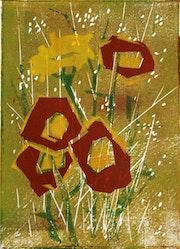 Blumen - Linolschnitt, mehrfarbig. Manuela Hinkeldey