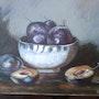 Les prunes, nature morte. Joelle Rigoulet