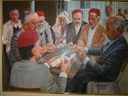 Les joueurs de dominos. Moncef Benjamaa