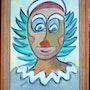 Portrait dessiné d'un seul Trait-Série Clown 1. Janyk