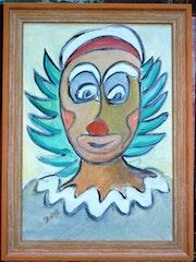 Portrait dessiné d'un seul Trait-Série Clown 1.