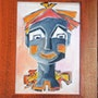 Portrait dessiné d'un seul Trait-Série Clown 2. Janyk