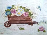 Pintura en tela, un arro con flores. M. Pilar