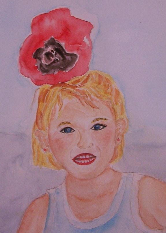 Valentine à la fête des écoles (aquarelle). Ghislaine Phelut-Sanchez Ghislaine Phelut