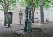 «Le banc, la fontaine Wallace, et le Candélabre».