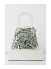 $Crunch, $9 scrunched up in a resin Artbag, 2010.