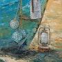 Flotteur et lampes à pétrole. Valérie Crochard