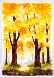House in Autumn Trees (0004). The William Frederick Brooks Collections