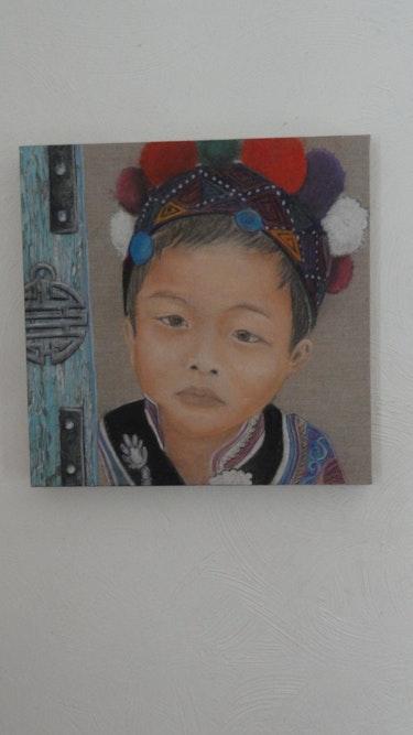 Garçon menestrel chinois (d'après photo de yolande garcia). Veronique Roche