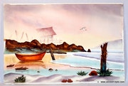 California School Watercolor : On the Shore (0041).