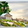 1950'S California Watercolor: Cabin in Spring (0051). The William Frederick Brooks Collections