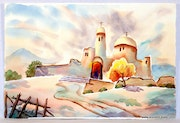 1940'S California School Watercolor : Desert Cathedral (0052).