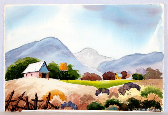1940'S-1950's California Watercolor: Gold Country Hills (0053). Nancy L. Hickman The William Frederick Brooks Collections