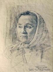 Die verdiente Schweinezüchterin, Bleistift Kreide auf Karton, 51 X 37 cm, 1962. Axel Zwiener