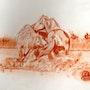 Camargue le combat dans l'eau. Jean Claude Ciutad-Savary. Artiste Peintre