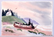 1940'S California School Watercolor : Under Lavender Skies (0056).