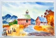 1940-50'S Original Watercolor : Autumn in California Gold Country (0057).