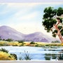 1950S California School Watercolor: Mountain Landscape by the Lake (0058). The William Frederick Brooks Collections