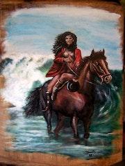 Femme sur cheval.