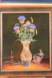 Les chardons bleu dans le vase.