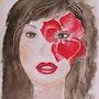 Rouge. D'après photo pub Dior (aquarelle). Ghislaine Phelut