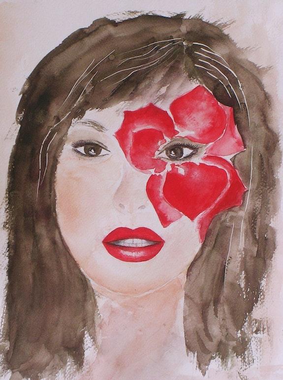 Rouge. D'après photo pub Dior (aquarelle). Ghislaine Phelut-Sanchez Ghislaine Phelut