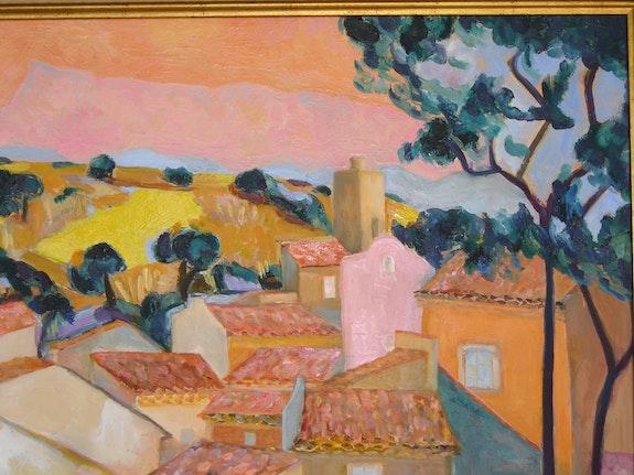 Village en Haute Provence et champs de tournesols. Jacques Blasco Jacques Blasco