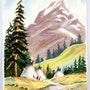 1940'S -1950s California School Watercolor : Tepees By the River (0059). The William Frederick Brooks Collections