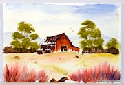 Original California Watercolor --Circa 1950's: The Red Barn (0060).