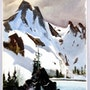 1950'S Robert Landry Signed Watercolor: Snowy Mountain Landscape (0061). The William Frederick Brooks Collections