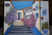Ruelle fleurie d'Obidos, ville médiévale du Portugal.