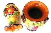2 Stk. Exklusive, wunderschöne Keramikvase - handgearbeitet - handgemalt.